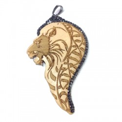 Wooden Pendant Lion With Strass 42x66mm
