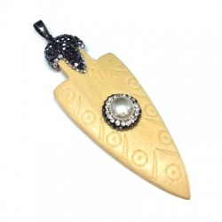 Wooden Pendant Arrow With Strass and Pearl 29x69mm