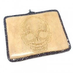 Wooden Pendant Skull with Strass 72x58mm
