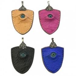 Leather Pendant Ostrich Shield Eye 48x50mm