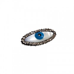 Κοχύλι Στοιχείο Μάτι με Σμάλτο και Στρας Περαστό 12x26mm (Ø1mm)
