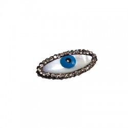 Passante di Madreperla Ovale con Occhio Portafortuna e Strass 12x26mm