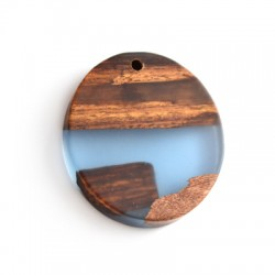 Oval Resin Pendant Combination With Wood 45x50mm/10mm (Ø3mm)