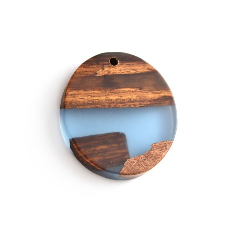 Pendentif ovale en Bois et Résine 45x50/10mm (Ø 3mm)