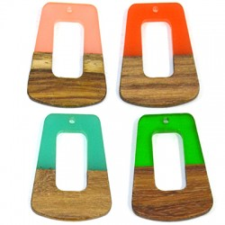 Rosewood & Resin Pendant Trapezoid 27x37mm