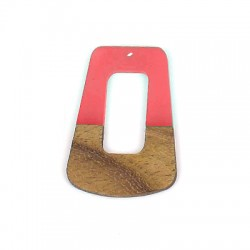 Rosewood & Resin Pendant Trapezoid 35x48mm