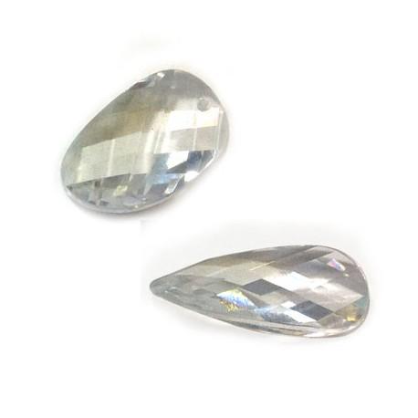 Passante di Cristallo Zircone Perlina Ovale Sfaccettata 12x20mm