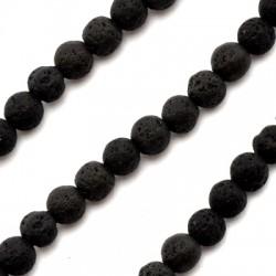 Ημιπολύτιμη Πέτρα Λάβα Χάντρα Μπίλια 6mm (~40τμχ/κορδόνι)