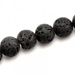 Ημιπολύτιμη Πέτρα Λάβα Χάντρα Μπίλια 12mm (~33τμχ/κορδόνι)
