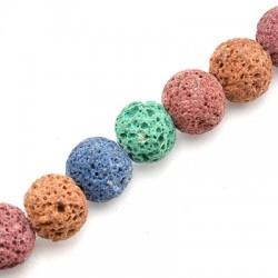 Ημιπολύτιμη Πέτρα Λάβα Χάντρα Χρωματιστή 10mm (Ø0.8mm)