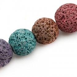 Ημιπολύτιμη Πέτρα Λάβα Χάντρα Χρωματιστή 16mm (40cm)
