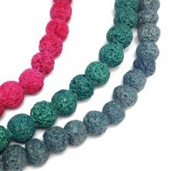 Perle en Lave colorée  ~8mm (~48pcs/fil)