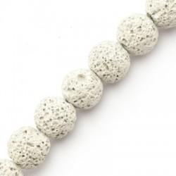 Perle en Lave colorée  ~10mm (~37pcs/fil)v
