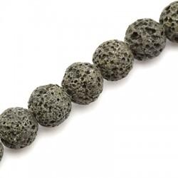 Ημιπολύτιμη Πέτρα Λάβα Χάντρα Χρωματιστή 10mm (37τμχ)