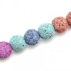 Ημιπολύτιμη Πέτρα Λάβα Χάντρα Χρωματιστή 10mm (39τμχ)