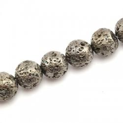 Ημιπολύτιμη Πέτρα Λάβα Χάντρα Επιμεταλλωμένη 10mm (37τμχ)