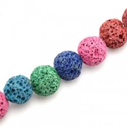 Ημιπολύτιμη Πέτρα Λάβα Χάντρα Μπίλια Χρωματιστή 10mm (~40τμχ/κορδόνι)