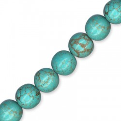 Howlite Turquoise Crackle Ball 14mm(40cm length-approx.28pcs/str)