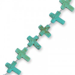 Howlite Turquoise Crack Cross 12x16mm (with horizontal hole)(40cm length-approx.25pcs/str)