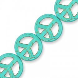 Howlite Turquoise Crackle Peace Sign 25mm(40cm.16pcs/str)