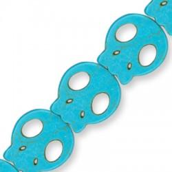 Howlite Turquoise Crackle Flat Skull 27x24mm(40cm.15pcs/str)