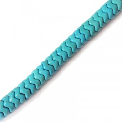 Howlite Turquoise Crackle Waved Washer 8mm (154pcs/str)