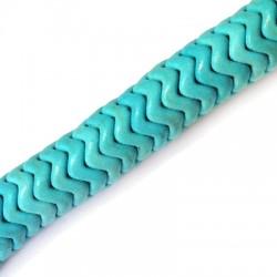 Howlite Turquoise Crackle Waved Washer 10mm (130pcs/str)