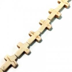 Howlite Cross 12x16mm (with Horizontal hole) (40cm length-approx.24pcs/str)