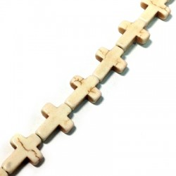 Pendentif Croix en Howlite 12x16mm (~24pcs/fil)