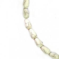 Ημιπολύτιμη Πέτρα Χαολίτης Στοιχείο Δάκρυ Περαστό Κάθετα 10x17mm (~26τμχ/κορδόνι)