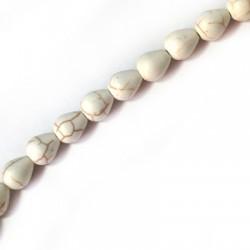 Ημιπολύτιμη Πέτρα Χαολίτης Στοιχείο Δάκρυ Περαστό Κάθετα 8x10mm (~40τμχ/κορδόνι)
