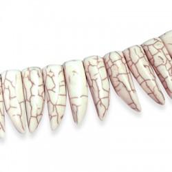 Ημιπολύτιμη Πέτρα Χαολίτης Δόντι Περαστό 10x30mm (~39τμχ/κορδόνι)