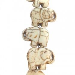 Ημιπολύτιμη Πέτρα Χαολίτης Στοιχείο Ελέφαντας Περαστός 16x21mm (~26τμχ/κορδόνι)