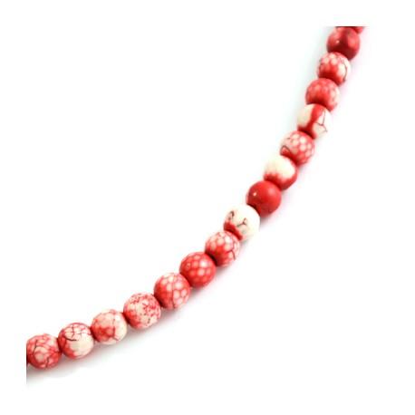 Perle facetée en semi-précieuse Howlite 8mm (~50pcs/fil)