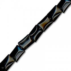 Ημιπολύτιμη Πέτρα Αχάτης Χάντρα Παραλληλόγραμμη 10x14mm (~28τμχ/κορδόνι)