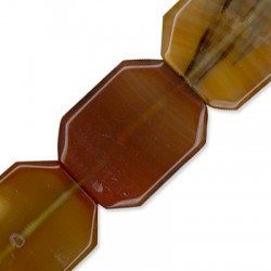 Ημιπολύτιμη Πέτρα Αχάτης Χάντρα Πλακέ Ακανόνιστη 30x40mm (~9τμχ/κορδόνι)