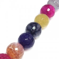 Perle sémi-précieuse facettée en Agate 16mm (~25pcs/fil)