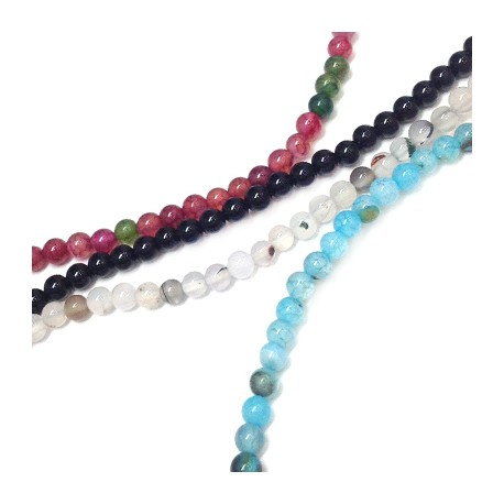 Perle sémi-précieuse en Agate 4mm (~94pcs/fil)