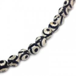 Perle sémi-précieuse facettée en Agate de Thibet 8mm (~47pcs/fil)