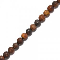 Ημιπολύτιμη Πέτρα Βραζιλιάνικος Αχάτης Χάντρα Μπίλια Στρογγυλή (~6mm) (~63τμχ/κορδόνι)
