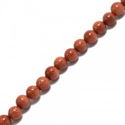 Perle en semi-précieuse Sable d'Or 6mm  (~63pcs/fil)