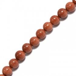 Perle en semi-précieuse Sable d'Or 8mm  (~48pcs/fil)