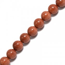 Perle en semi-précieuse Sable d'Or 10mm  (~38pcs/fil)