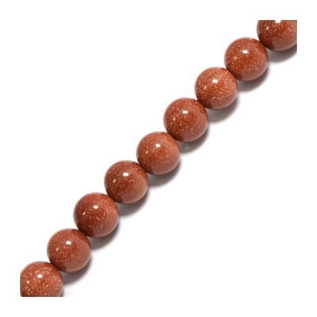 Gold Sand Bead Round ~10mm (~38pcs/string)