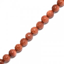 Perle facettée en semi-précieuse Sable d'Or 6mm  (~62pcs/fil)