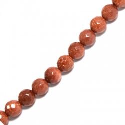 Perle facettée en semi-précieuse Sable d'Or 8mm  (~46pcs/fil)
