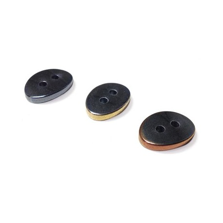 Hematite Button Oval with 2 holes 10x14mm
