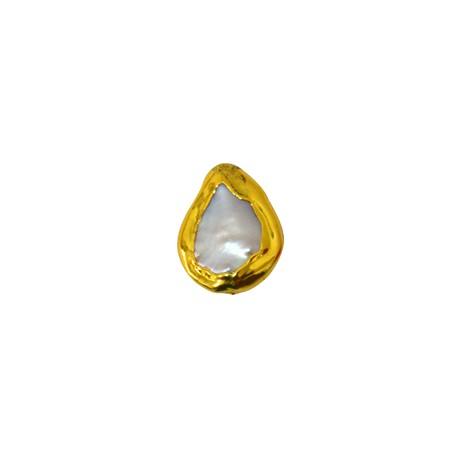 Μαργαριτάρι Οβάλ Ακανόνιστο Περαστό Επιμεταλλωμένο (~15x21mm)