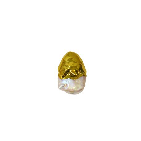 Μαργαριτάρι Οβάλ Περαστό Επιμεταλλωμένο (~14x21mm)