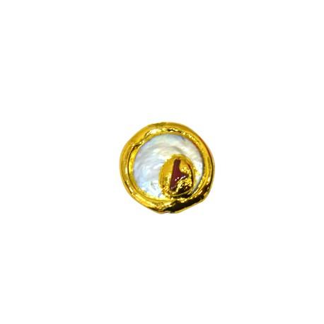 Μαργαριτάρι Στρογγυλό Περαστό Επιμεταλλωμένο (~21x26mm)